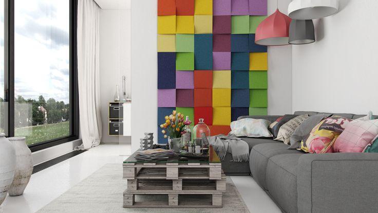 Miękkie panele ścienne 3D Fluffo, Fabryka Miękkich Ścian. Kolekcja Fluffo CUBIC. www.fluffo.pl