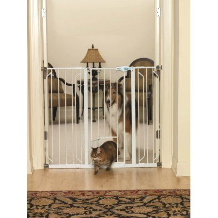 """Extra Tall Pet Gate with Pet Door - 41"""" Height is great for large and extra large dogs.  Upgraded handle design. - Walmart.com"""