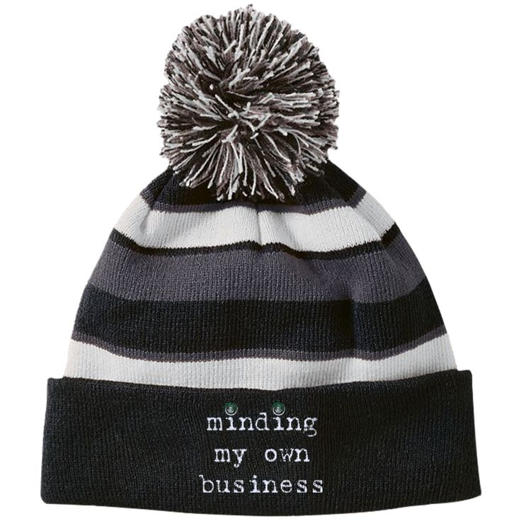 Minding My Own Business Striped Beanie with Pom
