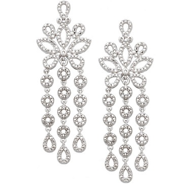 This breathtaking pair of pave set sterling silver dangle earrings from the Kohinoor Diamond Collection are reminiscent of the royal jewels set in the stunning crown of Queen Elizabeth which is on display in the Tower of London.   Introductory Price $299.00