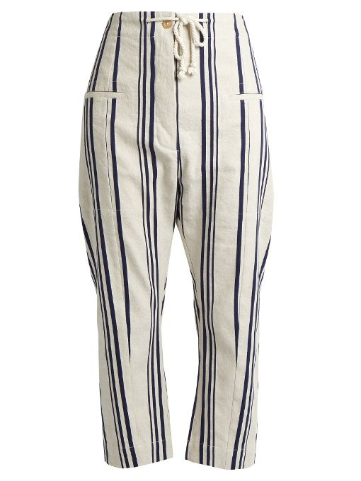 JOSEPH Ombria Striped Cotton And Linen-Blend Trousers. #joseph #cloth #trousers