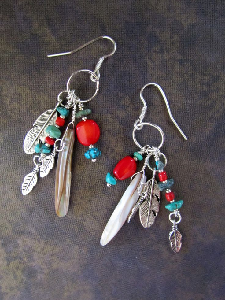 South Western Beadwork Earrings... Tribal Native American Turquoise Coral. $38.00, via Etsy.