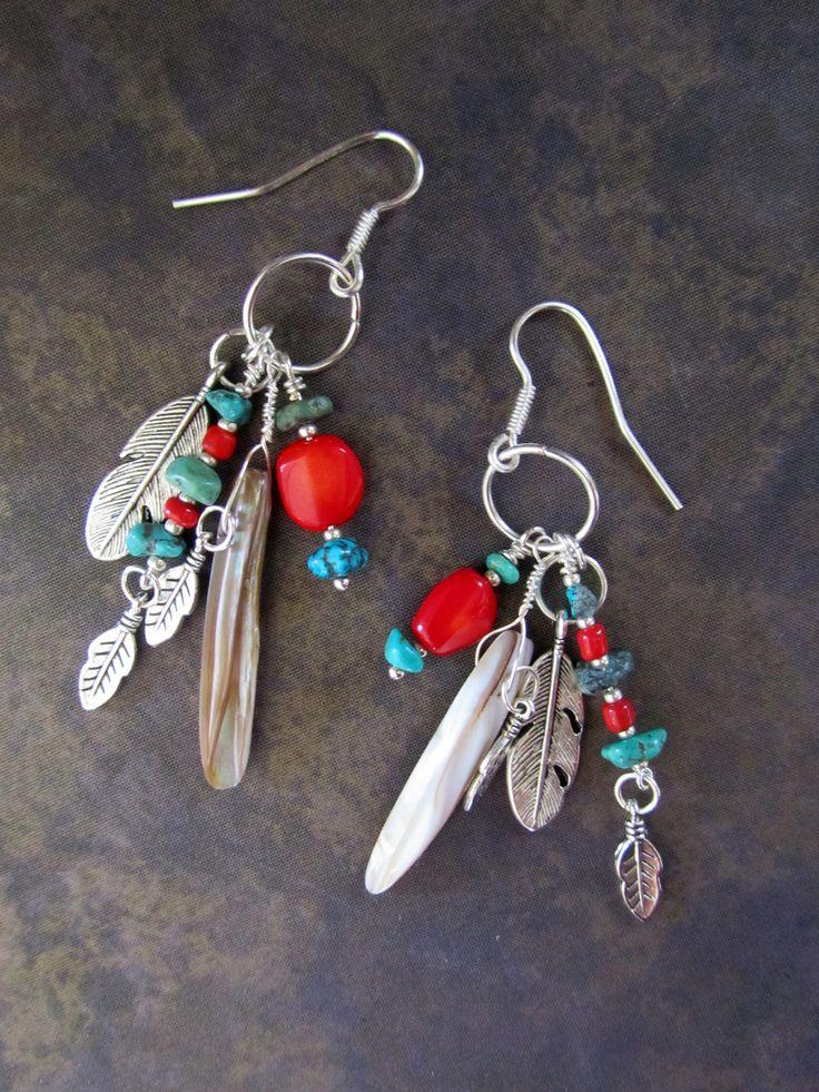 South Western Beadwork Earrings... Tribal Native American Turquoise Coral. $38.00, via Etsy.