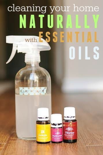 How to clean your home naturally with essential oils -- Includes specific recipes for all-purpose, window, floor, and bathroom cleaners using essential oils!
