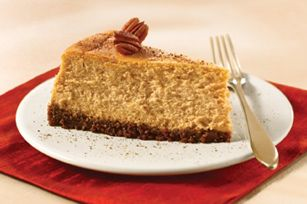 Pumpkin spice cheesecake with a gingersnap crust--definitely going to be making this!