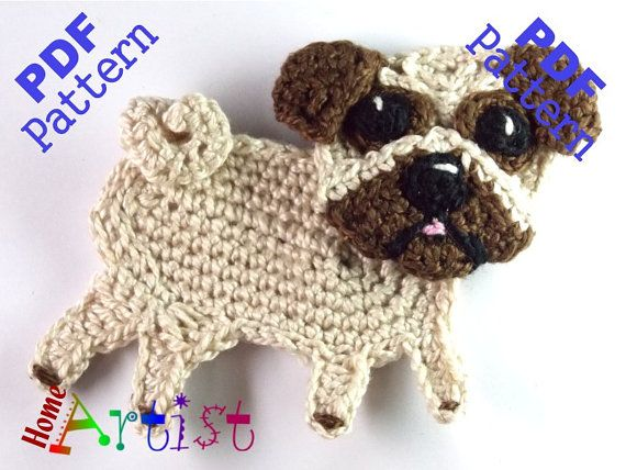 This is an -INSTANT DOWNLOAD- pattern of a cute Pug. Skill level: easy.  The…
