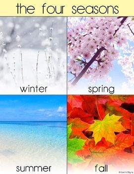 Four seasons poster! Perfect for any early classroom to help students connect real-life pictures of the to the changing seasons. Poster also has Spanish and bilingual versions.