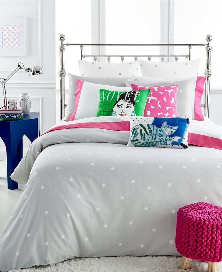 kate spade new york deco dot platinum full queen duvet cover set bedding collections bed. Black Bedroom Furniture Sets. Home Design Ideas