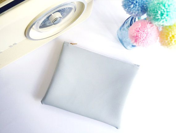 Large Grey Pouch with Pink Lining by FantasticCraftyFox on Etsy