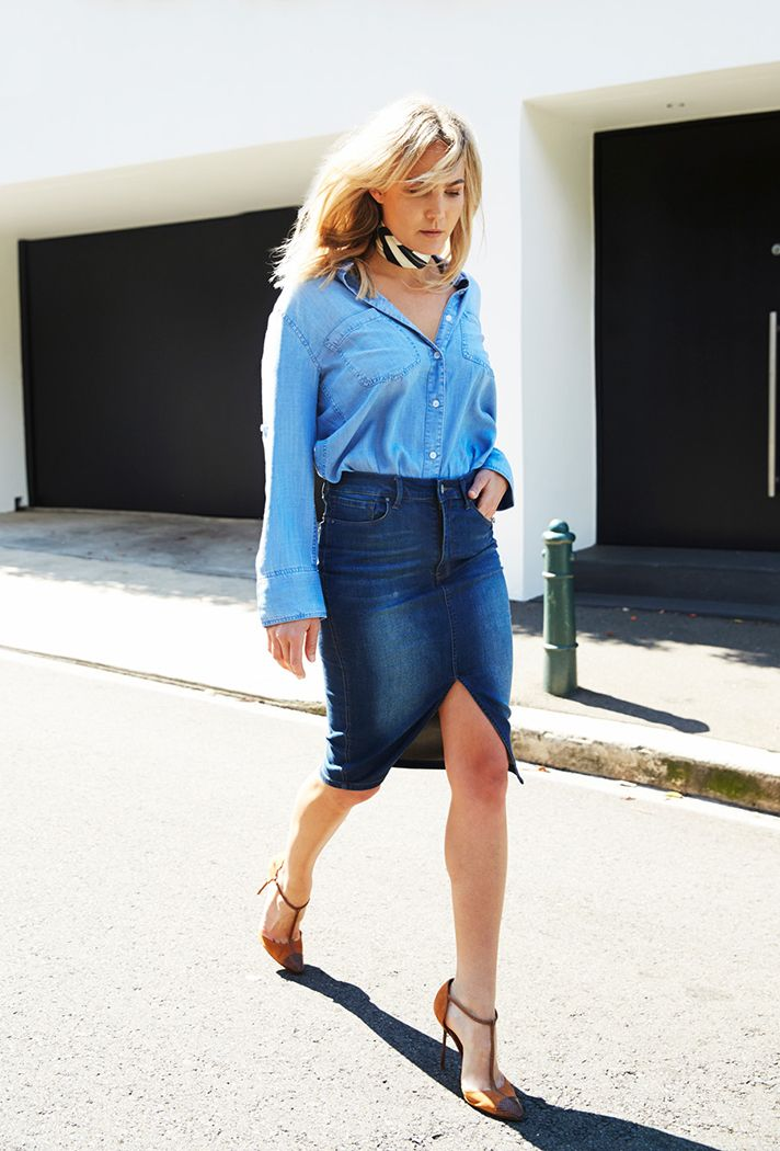 253 best Fashion: Denim Skirt Outfits images on Pinterest