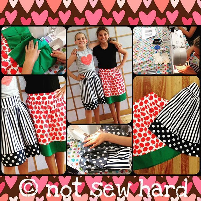 What do you with your BFF on school holidays? I know have a sewing day. BFF's Miss M and Miss C made an adaptation of 'The In Between Skirt', from http://www.polkadotchair.com/2014/04/tween-girls-skirt-tutorial.html/. Well done girls, I'm sew proud of your finished projects 😍 #BFFsewingday #ilovesewing #sewingisfun #learntosew #itsnotsewhardtosewfabulous #notsewhard