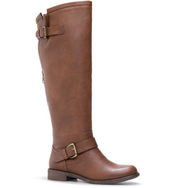 ShoeDazzle Boots Letoya Flat Boot Womens Brown ❤ liked on Polyvore featuring shoes, boots, brown, flat boots, flat riding boots, brown equestrian boots, rugged boots and brown boots