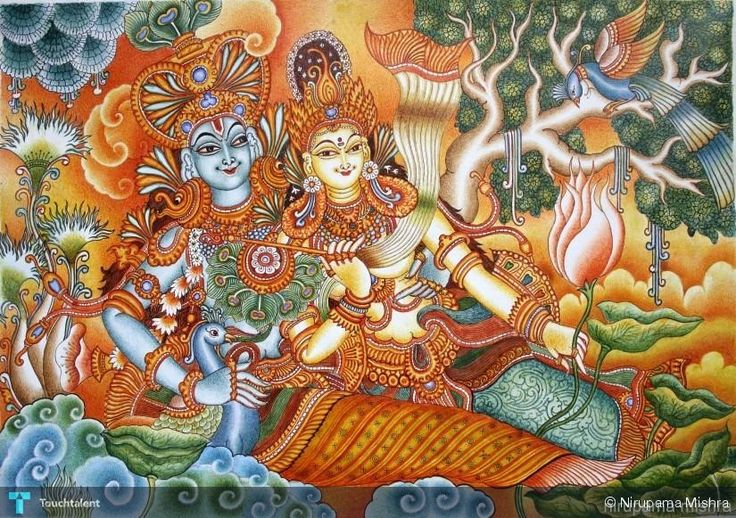 radha krishna, Creative Painting for sale by Nirupama Mishra