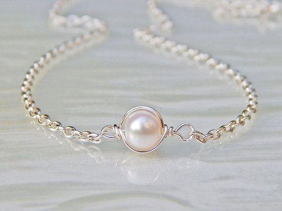 Collier de perles, collier en argent perle d'eau douce, collier, collier de perles Ivoire, les demoiselles d'honneur cadeaux, bijoux de mariage