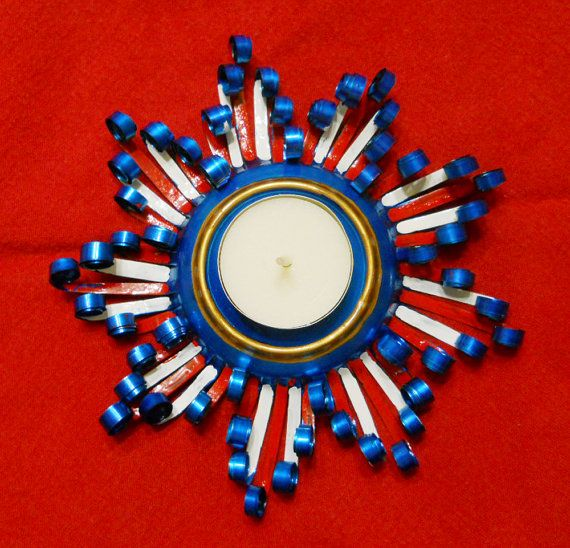 Patriotic Colored Aluminum Can Candleholder