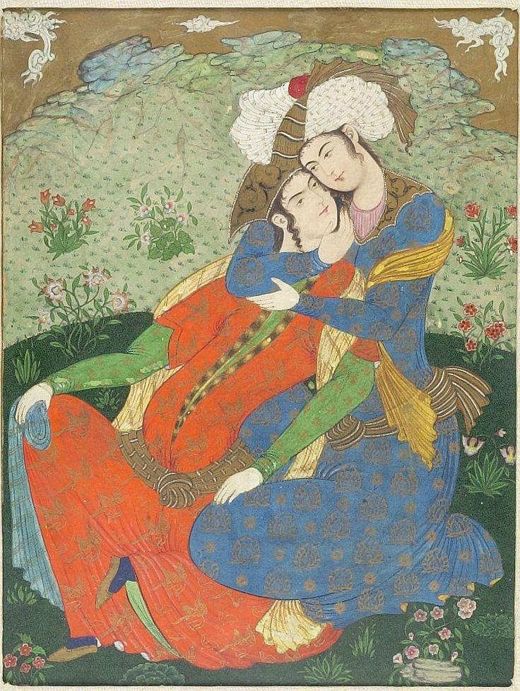 Lovers - Persian, 19th century