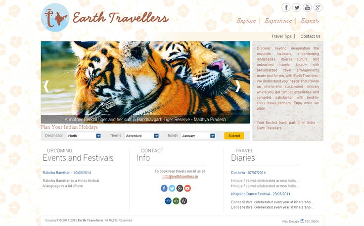 Website Designed by FSC India Web Designers. Earth #Travellers #Travel #Agents in #India. http://earthtravellers.in/