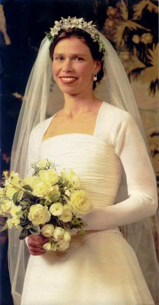 Lady Sarah Armstrong-Jones, the only daughter of Princess Margaret and Antony Armstrong-Jones, married Daniel Chatto, an actor, on July 14, 1994. Lady Sarah's wedding gown was designed by Jasper Conran. Sarah's veil was anchored with the Snowdon Floral Tiara, a gift to Princess Margaret from her husband. Sarah has two sons, Samuel born in 1996, and Arthur born in 1999. She maintains a close relationship with her aunt, Queen Elizabeth II, and is invited to Royal events.