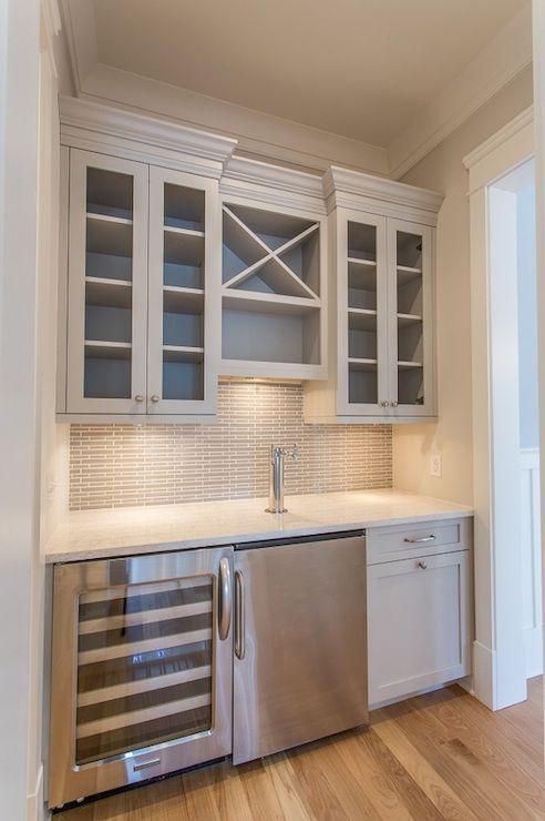 JacksonBuilt Custom Homes - kitchens - Benjamin Moore - Nimbus - built in wet bar, built in bar area, bar with keg fridge, stainless steel k...