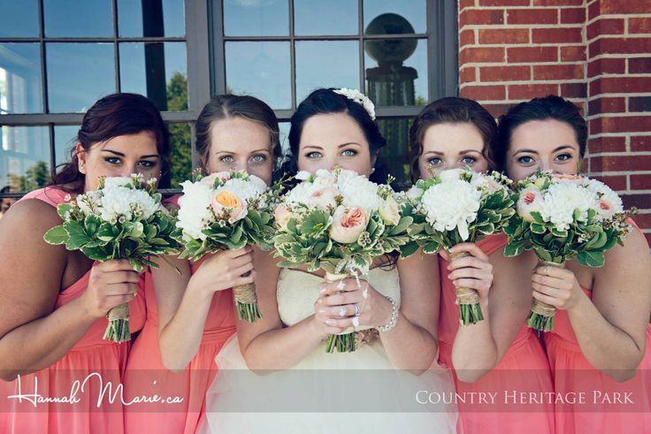 Coral / Strawberry Ice bridesmaids dresses at Barn Wedding at Country Heritage Park - by Waterloo Wedding Photographer Hannah Marie. www.hannahmarie.ca