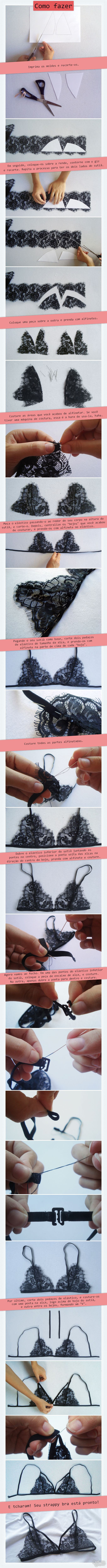 DIY Strappy Bra | Lace bra | http://cademeuchapeu.com
