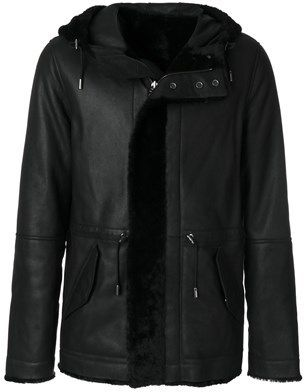 Yves Salomon Men's Black Leather Coat.