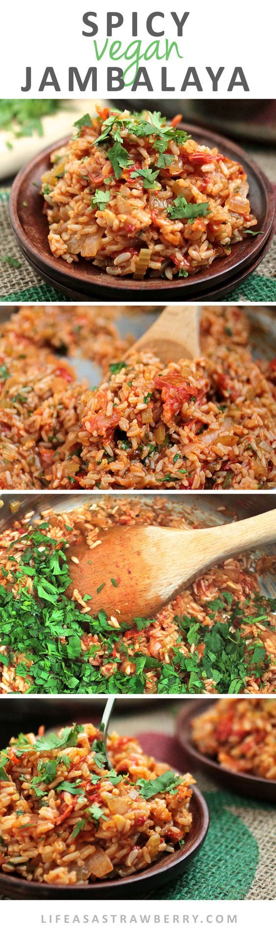 Spicy Vegan Jambalaya This easy vegan recipe for jambalaya is full of fresh produce and gets a spicy kick from fresh jalapeños! Ready in under an hour the perfect healthy vegan recipe for busy weeknights.