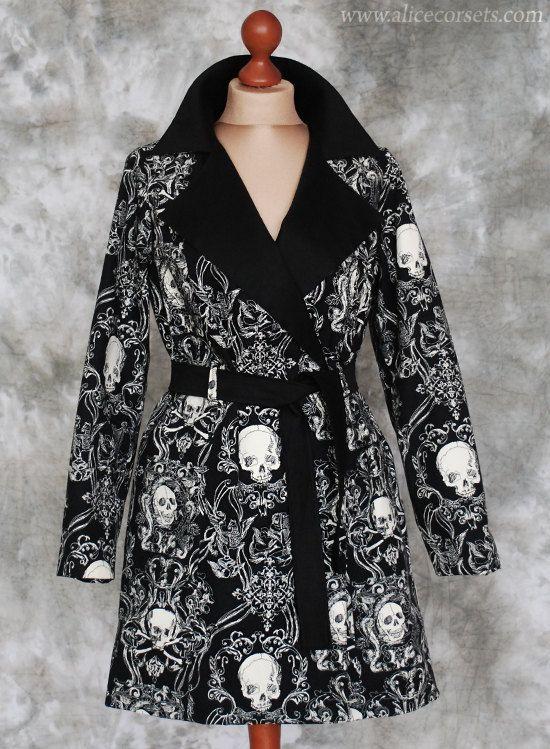 READY TO WEAR ~ Gothic Jacket ~ Cotton Baroque Skulls Victorian Steampunk Coat ~ Dark Fashion Blazer Robe ~ Vampire Costume Cloak Dress