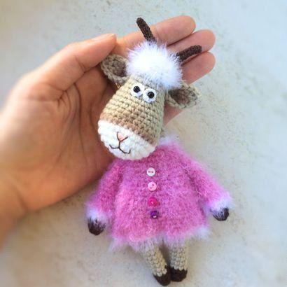 Goat in dress stuffed toy goat beige stuffed goat woodland