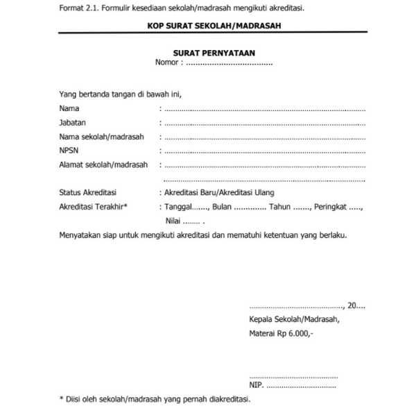 Download Gratis Dan Lengkap Contoh Formulir Kesediaan Sekolah Madrasah Mengikuti Akreditasi Format Word Docx Docs Sekolah Kepala Sekolah Tanggal