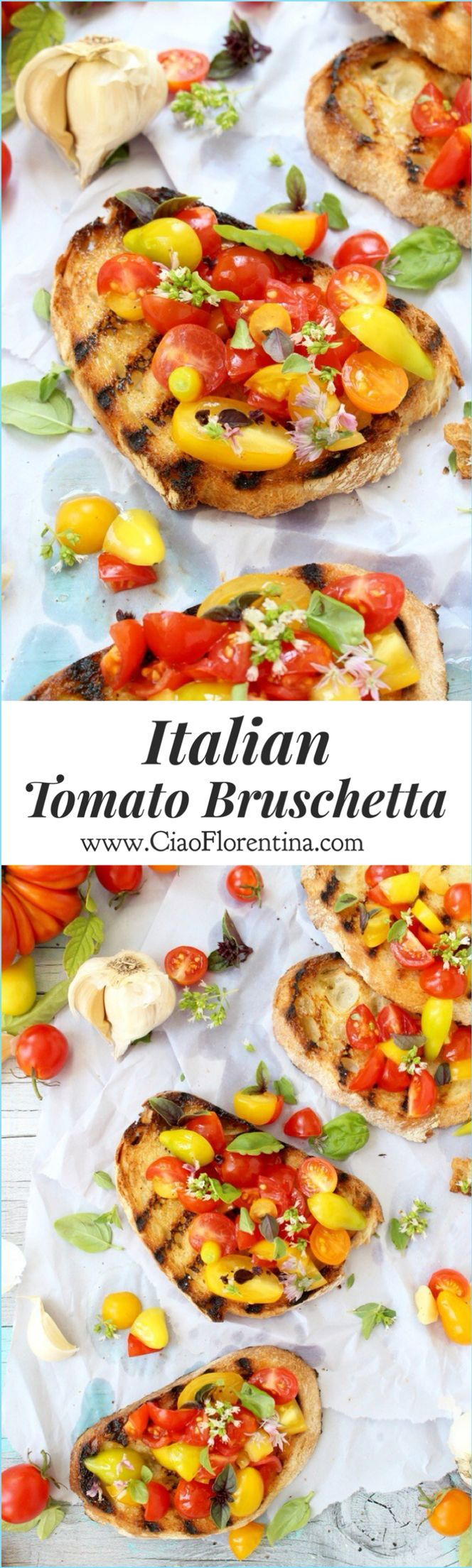 Tomato Bruschetta Recipe ( Italian Bruschetta ) | CiaoFlorentina.com @CiaoFlorentina