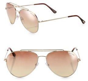 Tom Ford Indiana 58MM Mirrored Aviator Sunglasses