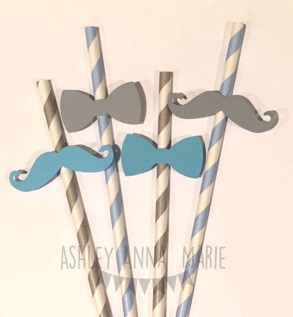 These come in sets of 10. You will receive 5 light blue straws and 5 silver straws.  COLORS SHOWN: - Light Blue/White straws with gray bow ties