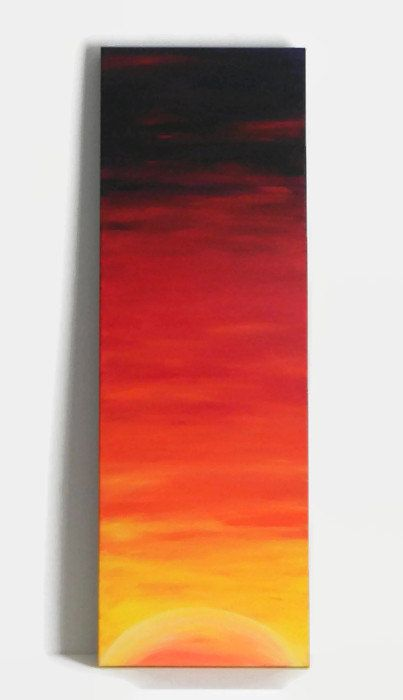 This is Sunrise, an original acrylic painting I created myself. It's meant to have a modern, abstract sort of minimalist style to it. You can