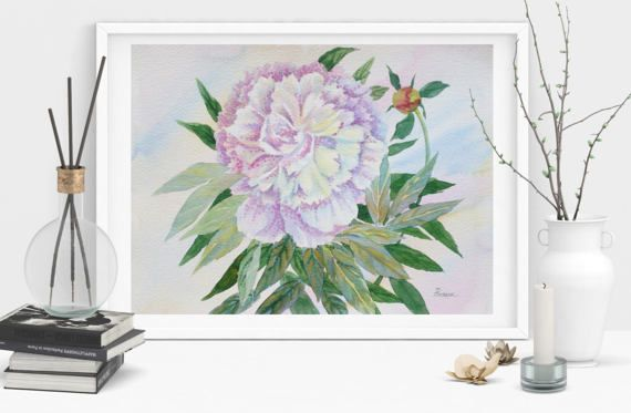 White Pink Peony Watercolor  Original flower by NataliaPiache