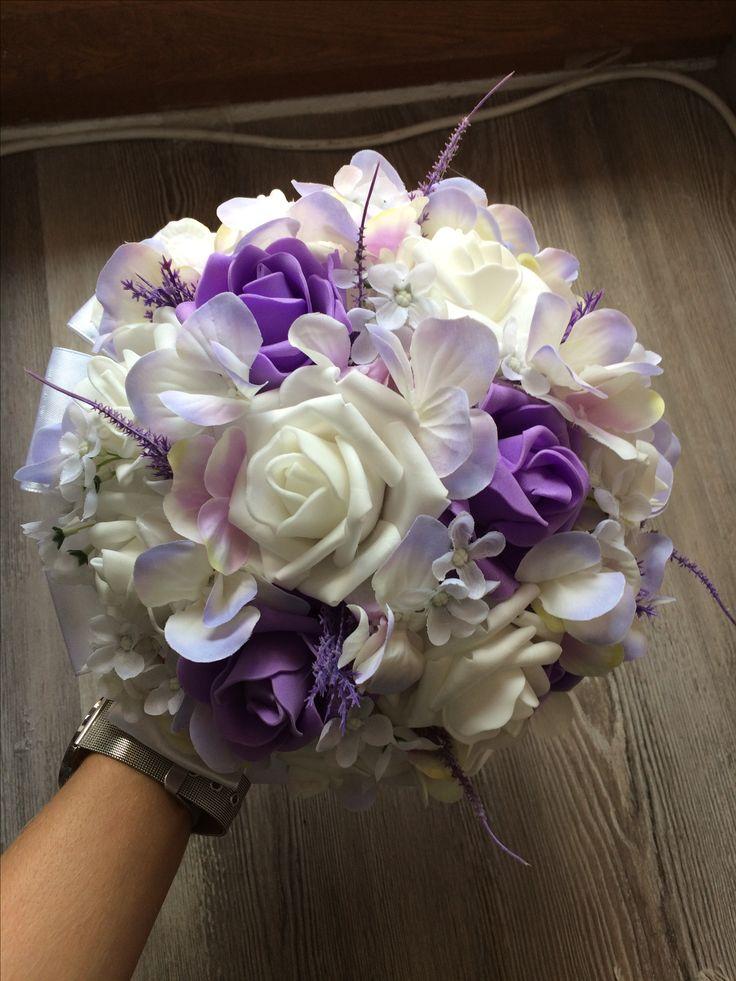 Umělá svatební kytice s vřesem a hortenzí