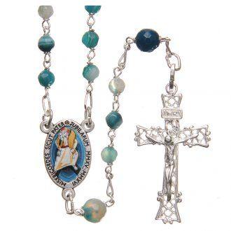 Rosario agata brasiliana Papa Francesco arg 925 4 mm azzurro | vendita online su…