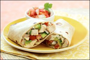 Hungry Girl recipe swap for guilt-free chicken avocado burrito. Pin and make today!