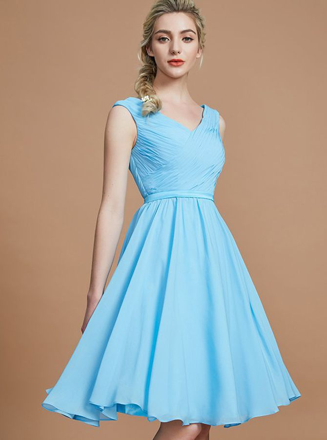 7f9312b95c Light Blue Short Bridesmaid Dresses Simple