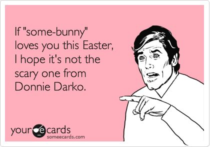 If you really look at the Easter Bunnies at the mall, they are all a little bit scary.  No wonder the kids cry.