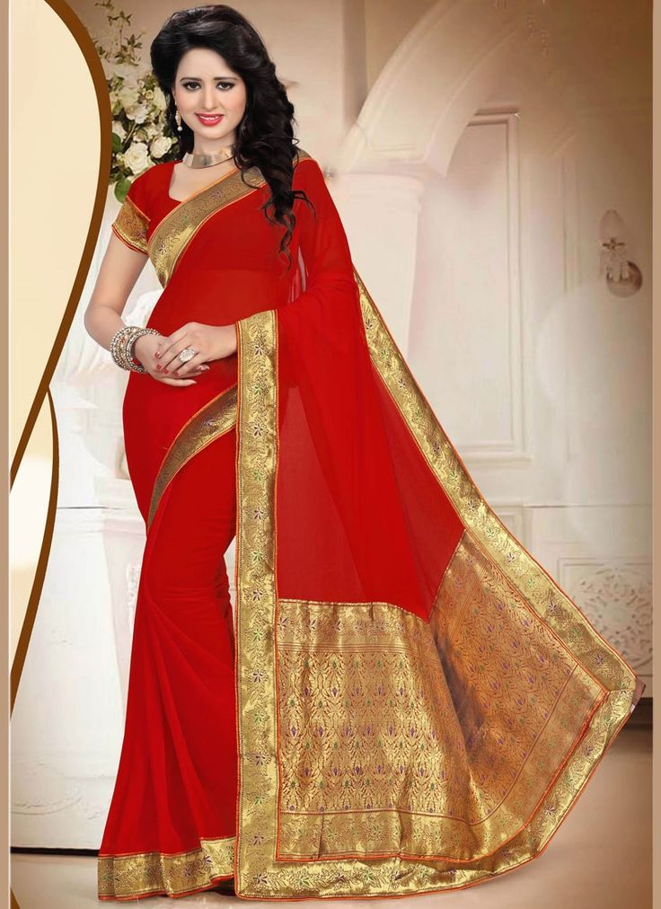 Online shopping for latest collection of designer sarees. Buy this faux georgette red saree for festival and party.