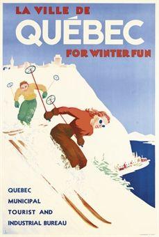 vintage ski poster - QUÉBEC