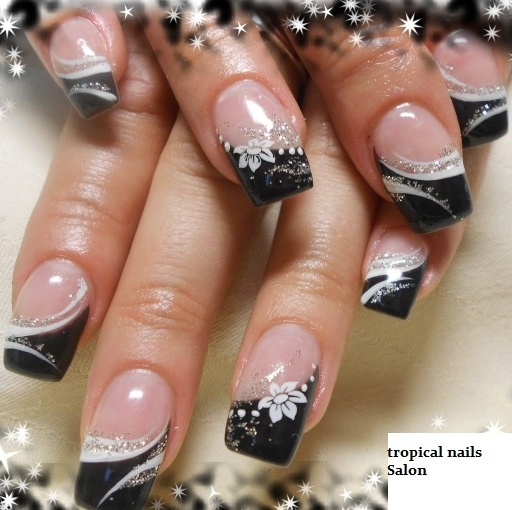 french black and white and silver glitter nails