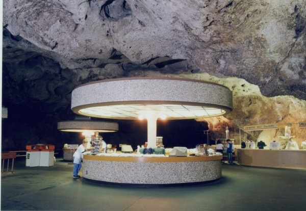 Carlsbad Caverns cafe in the cave. This place is alot darker than it looks just artificial light it is very.gloomy