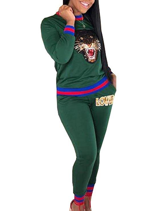 0a9941febe5a Women's Casual Tracksuits 2 Pieces Outfits Crewneck Long Sleeve Tiger  Printed Tops Love Pants Sweatshirts Jumpsuits
