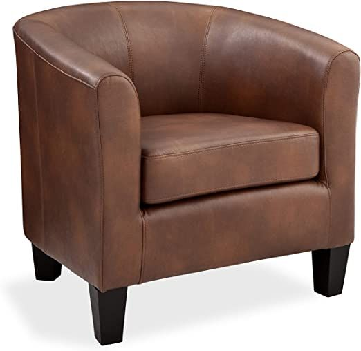 Grafton Joseph Faux Leather Barrel Chair One Size Saddle In 2020 Single Sofa Chair Barrel Chair Chair