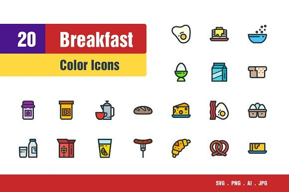 Breakfast Icons By Sooodesign On Creativemarket All Icon Line