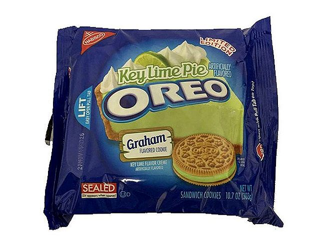 We Tasted (and Graded) Every Crazy New Oreo Flavor  | KEY LIME PIE | Concept: Citrus in an Oreo? I don't know about this. Grade: B+ Tasting notes: Yummy Graham cracker cookie, disconcerting green color, nice/mellow flavor
