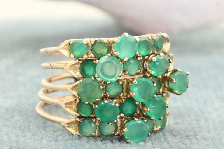 Ruby Lane - Estate 14K Emerald Rose Gold Stack Ring $1,050 #rings #stacking rings