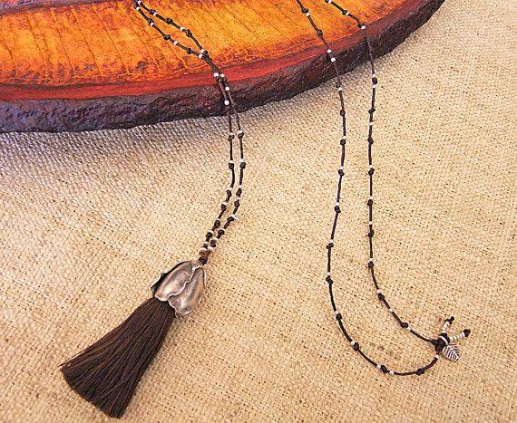 Silver Necklace (Long),Collar largo de plata 925. Collar étnico de plata. Joyería étnica. Joyería de plata.